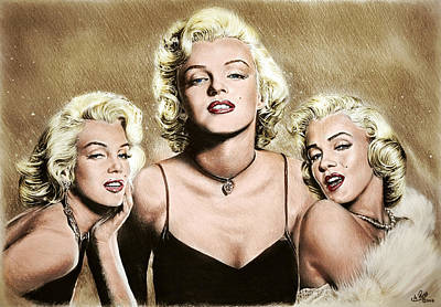 Musicians Drawings Rights Managed Images - Hollywood Legends Marilyn colour Royalty-Free Image by Andrew Read
