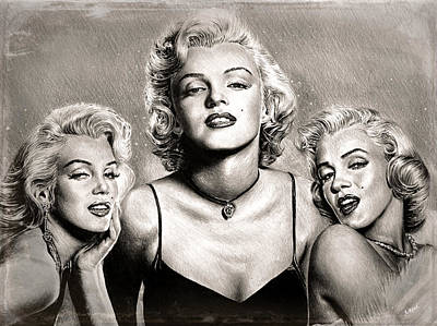 Drawing - Hollywood Legends Marilyn Sepia by Andrew Read