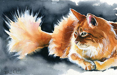 Painting - Holy Ginger Fluff - Cat Painting by Dora Hathazi Mendes