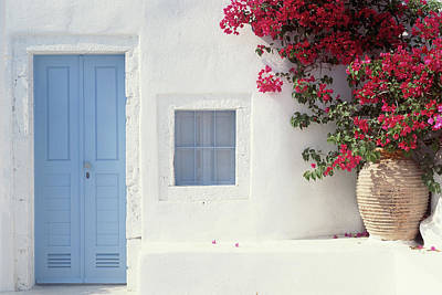 Photograph - Home Exterior With Blue Door & Flowers by Joanna Mccarthy