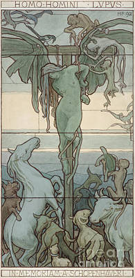 Another Painting - Homo Homini Lupus, 1901 by Max Pirner