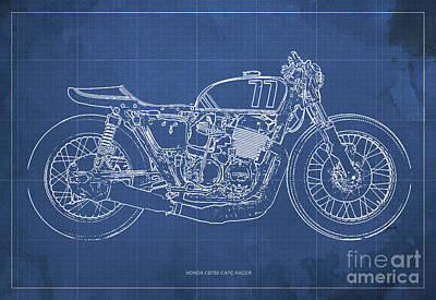 Royalty-Free and Rights-Managed Images - Honda CB750 Cafe Racer Blueprint, Vintage Blue Background by Drawspots Illustrations