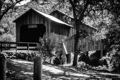 Photograph - Honey Run Bridge In Black And White by Marnie Patchett