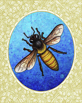 Painting - Honeybee Portrait - Cream Border by Amy E Fraser