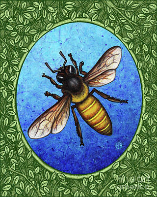 Painting - Honeybee Portrait - Green Border by Amy E Fraser