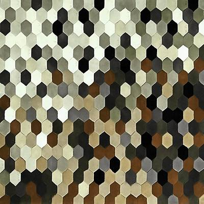 Digital Art - Honeycomb Pattern In Neutral Earth Tones by Taiche Acrylic Art