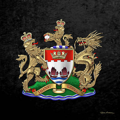 Digital Art - Hong Kong - 1959-1997 Coat Of Arms Over Black Leather  by Serge Averbukh