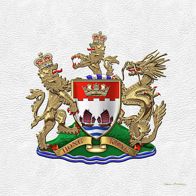 Digital Art - Hong Kong - 1959-1997 Coat Of Arms Over White Leather  by Serge Averbukh