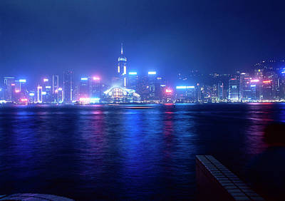 Photograph - Hong Kong Harbor With Skyline At Night by Win-initiative