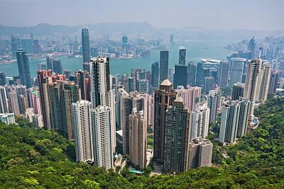 Financial District Photograph - Hong Kong View From The Peak by Manfred Gottschalk