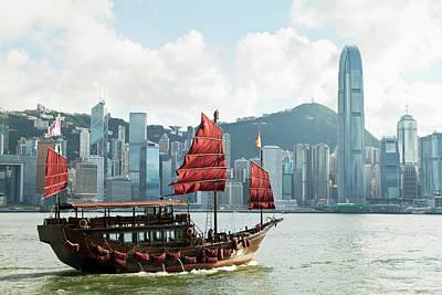 Junk Boat Wall Art - Photograph - Hong Kongs Traditional Sailing Junk by Yuenwu
