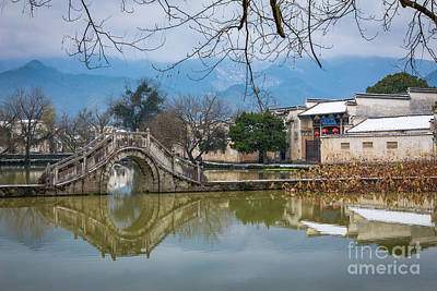 Photograph - Hongcun Round Bridge by Inge Johnsson