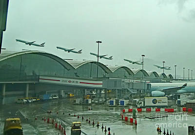 Photograph - Hongkong Airport - Rainy Day Takeoff by Bipul Haldar