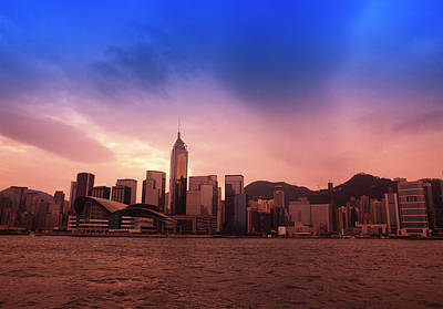 Photograph - Honk Kong Skyline At Sunset by Win-initiative