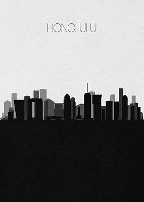 Digital Art - Honolulu Cityscape Art by Inspirowl Design