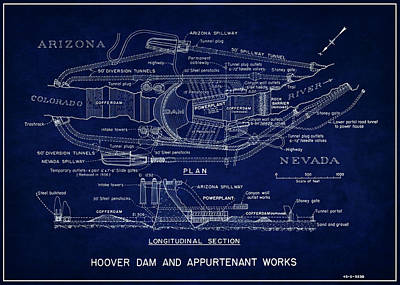 Hydro Wall Art - Photograph - Hoover Dam Blueprint  1935 by Daniel Hagerman