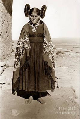 Photograph -  Hopi Maiden Squash Blossom Hairdo, Circa 1905 by California Views Archives Mr Pat Hathaway Archives