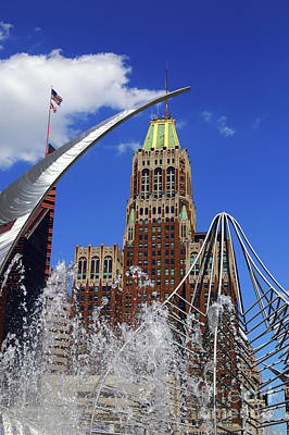 Photograph - Hopkins Plaza Fountain And Bank Of America Building Baltimore by James Brunker