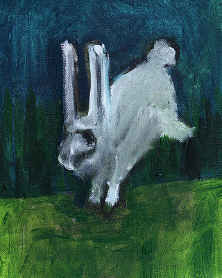 Painting - Hopping Rabbit by Artist Dot