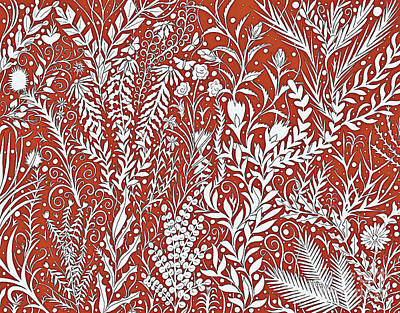 Tapestry - Textile - Horizontal Tapestry Design With Leaves And Flowers, Red And White by Lise Winne