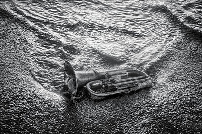 Photograph - Horn In The Surf In Black And White by Garry Gay