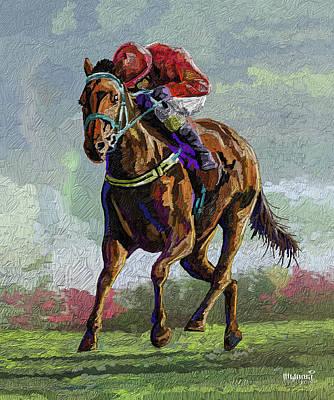 Animals Paintings - Horse and Jockey by Anthony Mwangi