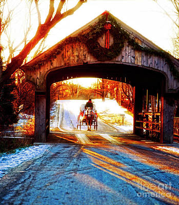 Photograph - Horse Drawn Carriage Covered Bridge Long Grove Il 014060036 by Tom Jelen