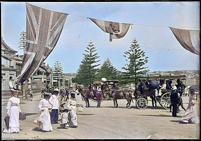 Pittsburgh According To Ron Magnes - Horse drawn omnibus to Narrabeen Rock Lily with beachgoers in foreground at Manly colorized  by Artistic Panda