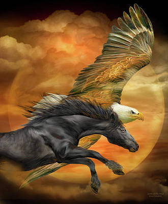 Mixed Media - Horse And Eagle - Spirits Of The Wind  by Carol Cavalaris