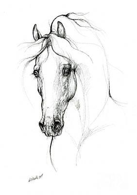 Animals Drawings - Horse ink art 2019 09 11 by Angel Ciesniarska
