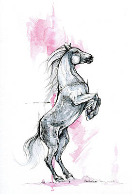 Animals Drawings - Horse ink art 2019 09 12 by Angel Ciesniarska