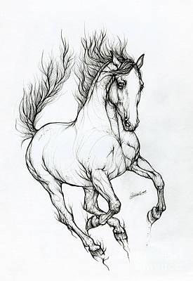 Animals Drawings - Horse ink art 2019 10 09 by Angel Ciesniarska