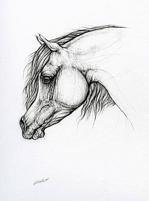 Animals Drawings - Horse ink art 2019 10 10 by Angel Ciesniarska