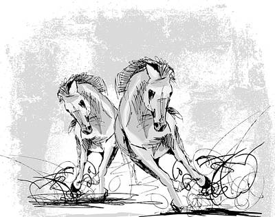 Digital Art - Horse Play by Stanley Mathis