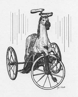 Drawing - Horse Tricycle by Tommy Midyette