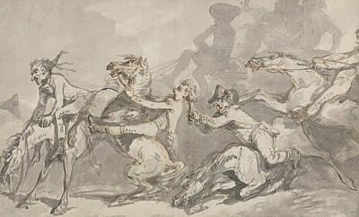 Drawing - Horsemen Colliding by Thomas Rowlandson