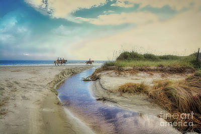 Photograph - Horses Along The Beach by Kathy Baccari