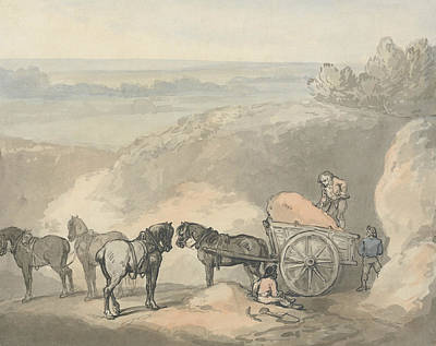 Drawing - Horses And A Cart At A Sandpit by Thomas Rowlandson