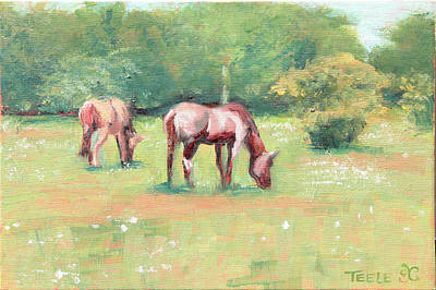 Painting - Horses In The Fields by Trina Teele