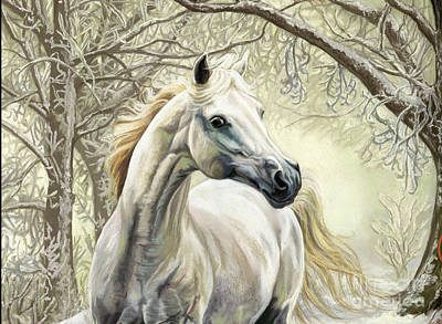 Wall Art - Pastel - Horses Of The Four Seasons - Winter by Kim McElroy