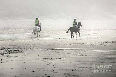 Photograph - Horses On A Foggy Beach by Terri Waters