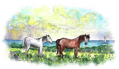 Painting - Horses On Lizard Peninsula by Miki De Goodaboom