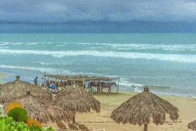 Painting - Horses On Playa Diamante Acapulco by Bill McEntee