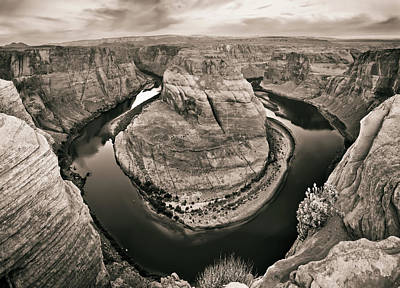 Photograph - Horseshoe Bend And Colorado River In Sepia - Page Arizona by Gregory Ballos