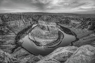 Landscapes Royalty-Free and Rights-Managed Images - Horseshoe Bend Monochrome Landscape - Page Arizona Landscape by Gregory Ballos