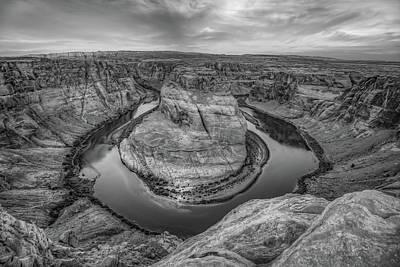 Photograph - Horseshoe Bend Monochrome Landscape - Page Arizona Landscape by Gregory Ballos