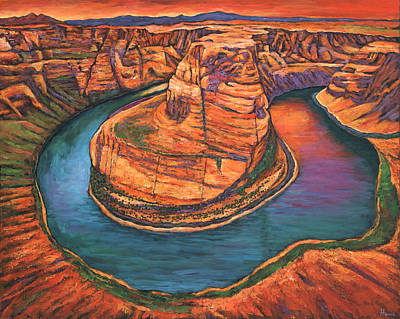 Flagstaff Wall Art - Painting - Horseshoe Bend Sunset by Johnathan Harris