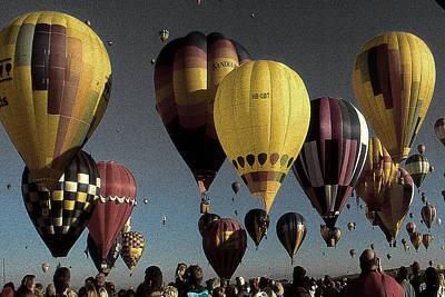 Painting - Hot Air Balloon Festival - Color Illustration Drawing by Peter Potter