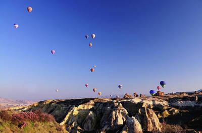Morphing Photograph - Hot Air Balloons At The Capadoccia Sky by Deliormanli