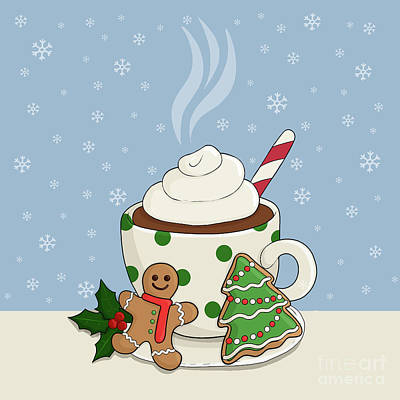 Go For Gold Rights Managed Images - Hot Chocolate and  Gingerbread Cookies - Christmas Royalty-Free Image by Valentina Hramov